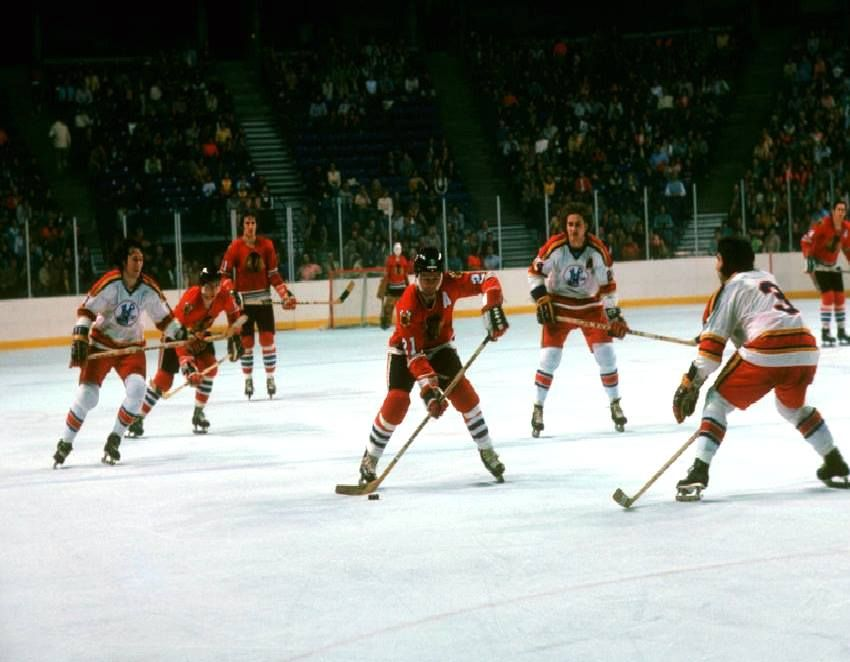 Stan Mikita and the Hawks take on the Scouts in Kansas