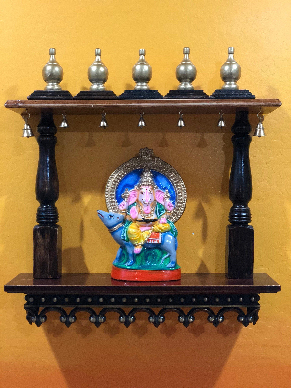 Pooja Mandir Hindu Temple Wall Hanging Wood Espresso Bell Art