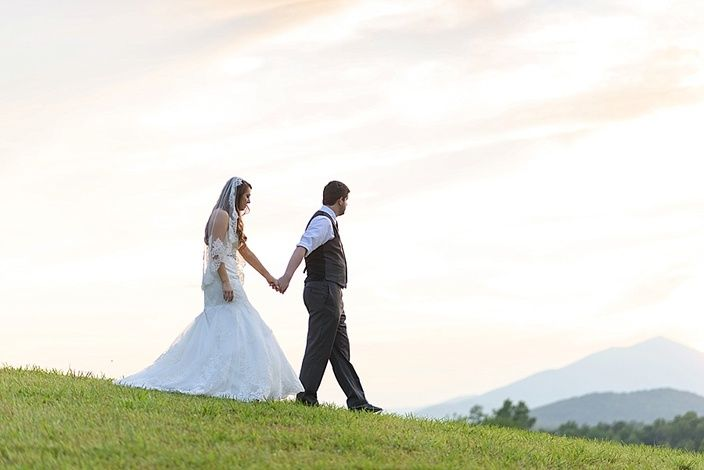 sunset photos bride and groom walking