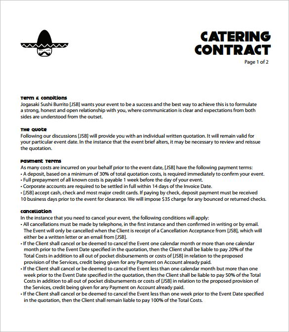 Catering Contract Template Free  Catering Templates