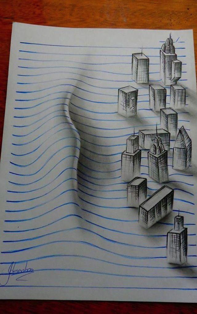 Teenage Artist Warps Notebook Paper Into 3d Drawings Dibujos 3d Notebook Art Dibujos 3d A Lapiz