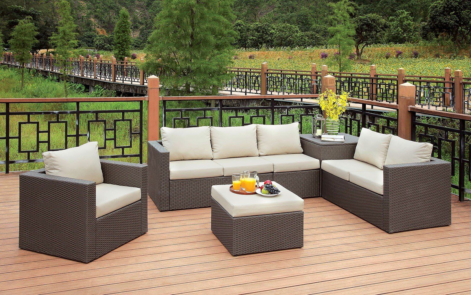 Davina Patio Sectional W Ottoman Storage Patio Decor Conversation Set Patio Outdoor Seating Set