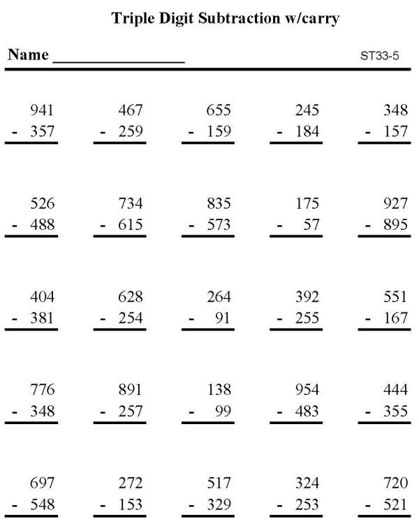 Bluebonkers Printable Subtraction Sheet Triple Digit Subtraction P5 Subtraction Worksheets Math Worksheets Subtraction