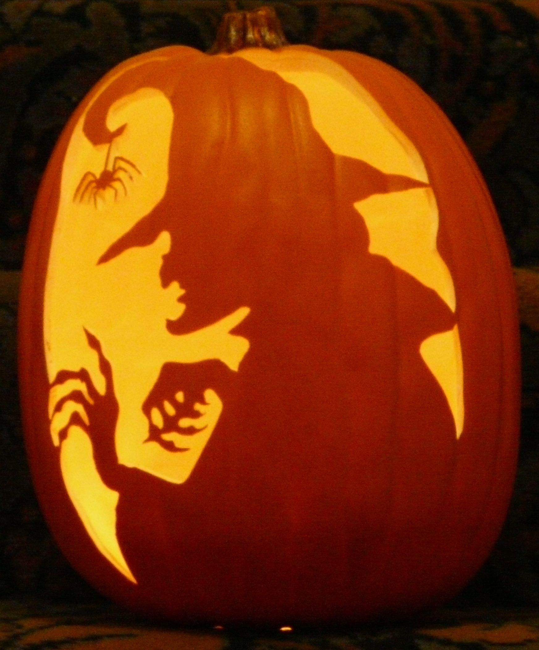 This Is A Witch Silhouette That I Carved On A Foam Pumpkin Pumpkin Carving Scary Pumpkin Carving Amazing Pumpkin Carving
