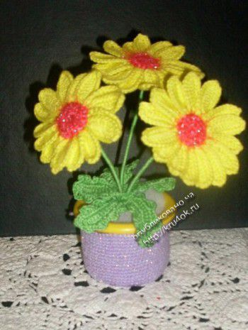 вязаные цветы ромашки в горшочке вязание крючком вязаные цветы