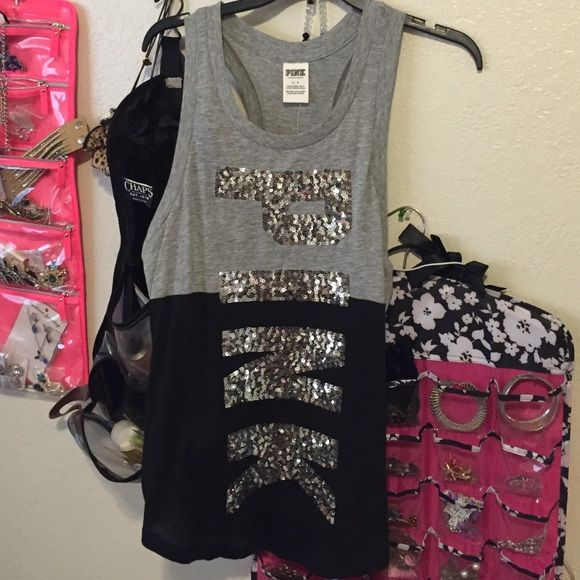 NWT PINK gray and black sequin top Brand new with tags Pink top. Has beautiful sequin. None missing. Gray and black. Size small but fits big. PINK Victoria's Secret Tops Tank Tops