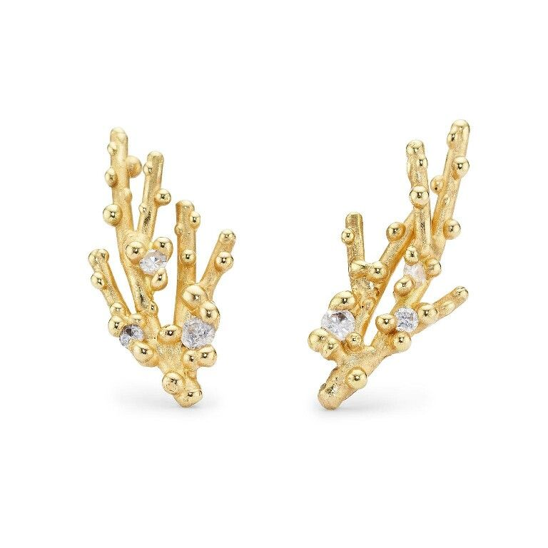 Gold and Diamond Ear Studs by Ruth Tomlinson