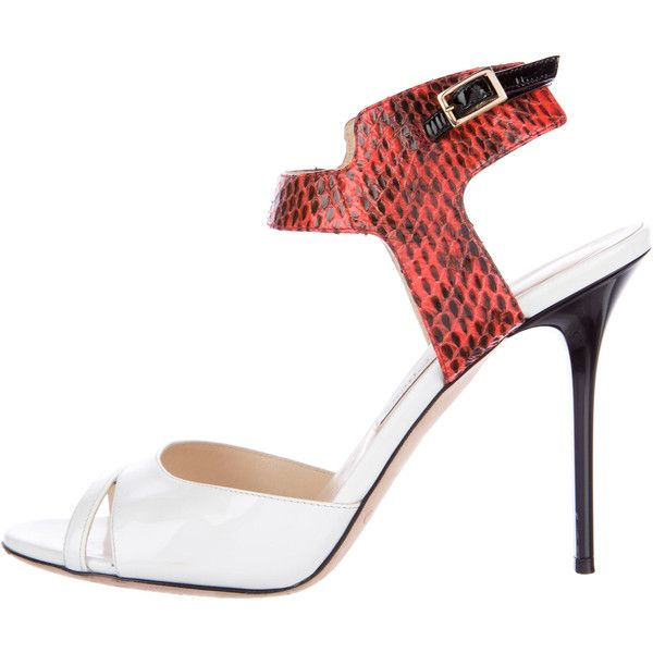Jimmy Choo Snakeskin-Trimmed Ankle Strap Sandals visit new for sale clearance low shipping 5YYsh9z