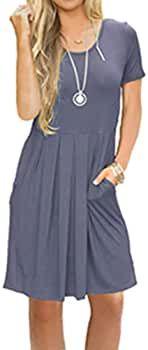 LILBETTER Vestido informal plisado holgado de manga corta para mujer con bolsillos hasta la rodilla  – Moda