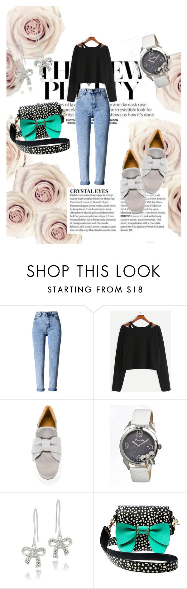 """""""cute bows"""" by lagricape ❤ liked on Polyvore featuring WithChic, BUSCEMI, Bertha, DB Designs and Betsey Johnson"""