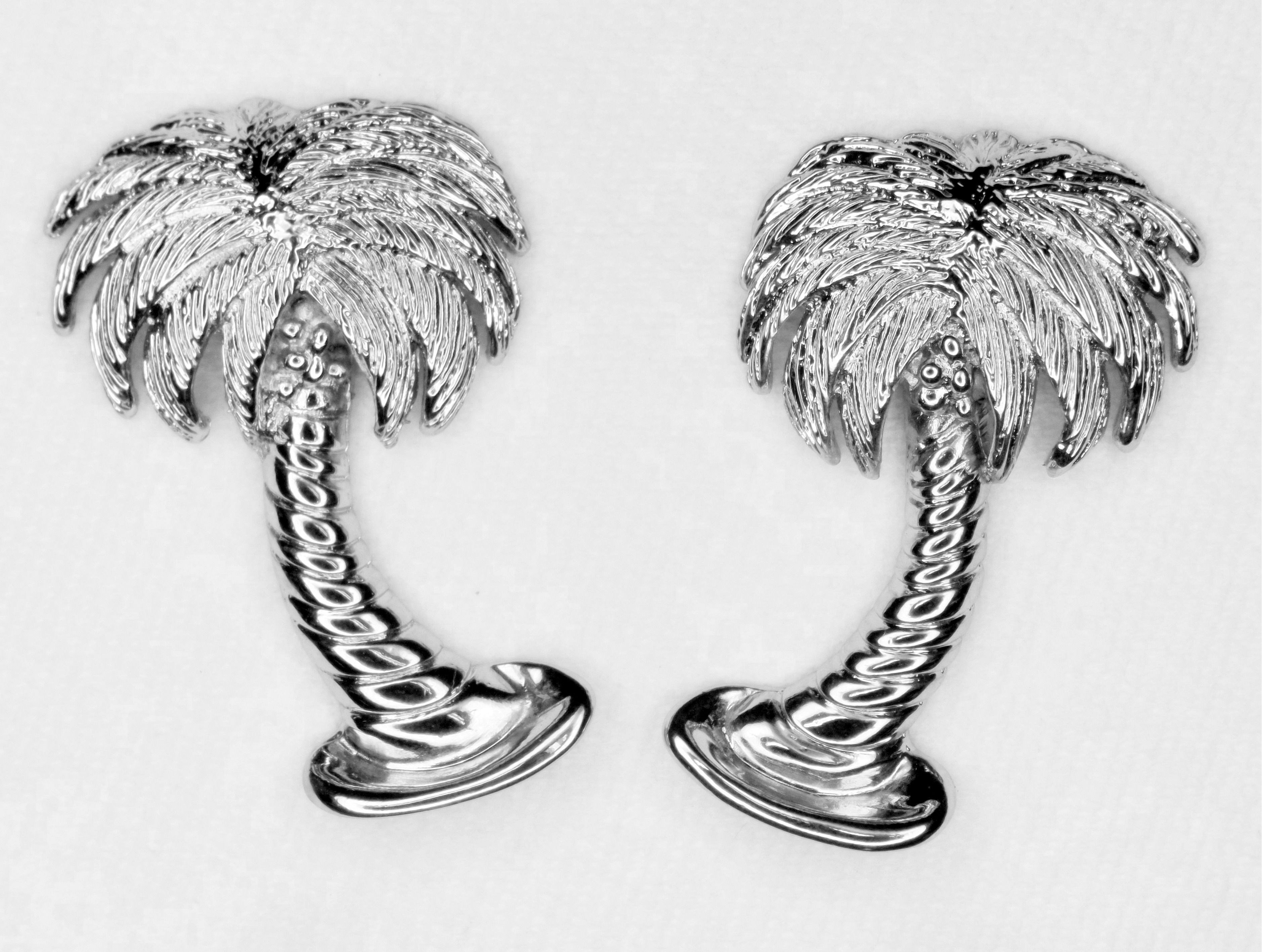 Palm Tree Cabinet Pulls Cast In Fine Pewter Finished Brushed Nickel Chrome Or