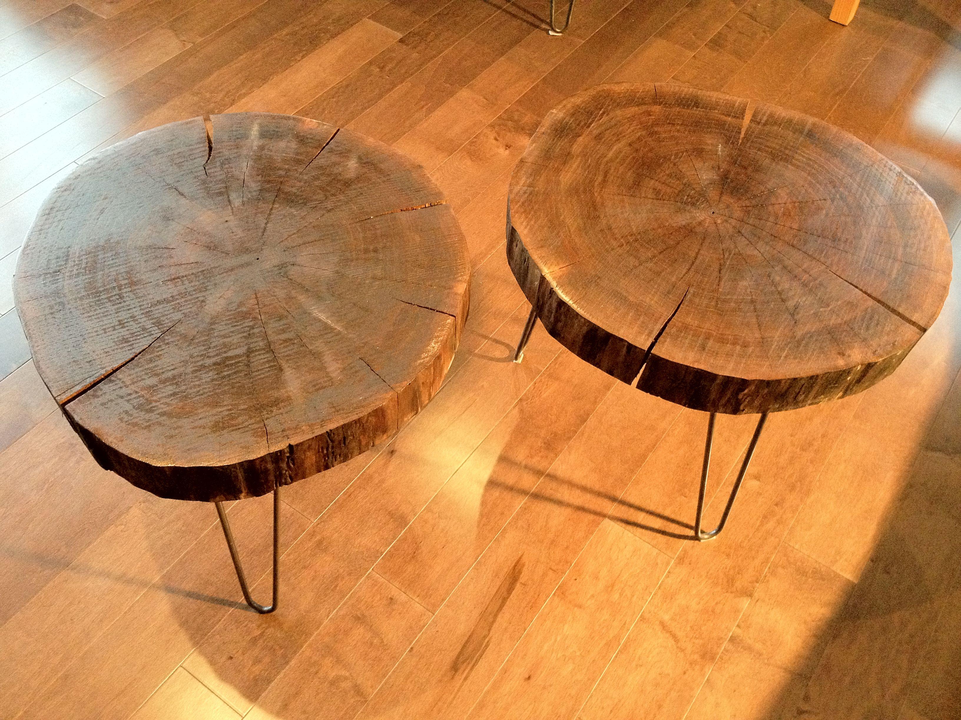 Walnut Round 24 x 24 x 19 H sit on mid century hairpin legs