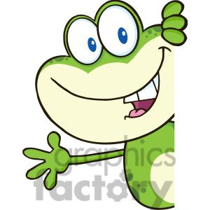 Clipart of 7257 Royalty Free RF Clipart Illustration Cute Frog Cartoon Mascot Character Looking Around A Blank Sign And Waving.
