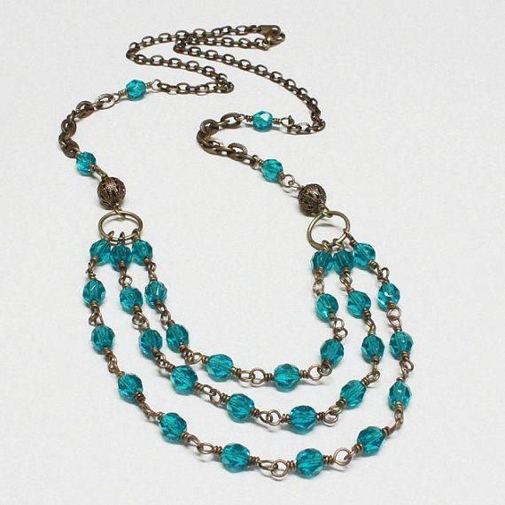Turquoise FirePolished Czech Glass Bead by carolinascreations, $17.00
