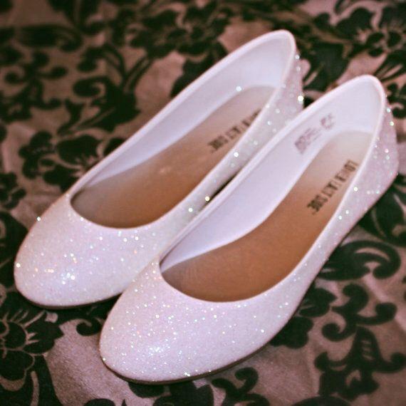 White Glitter Bridal Shoes Wedding Flats By Ashleybrooksdesigns On Etsy Https Www