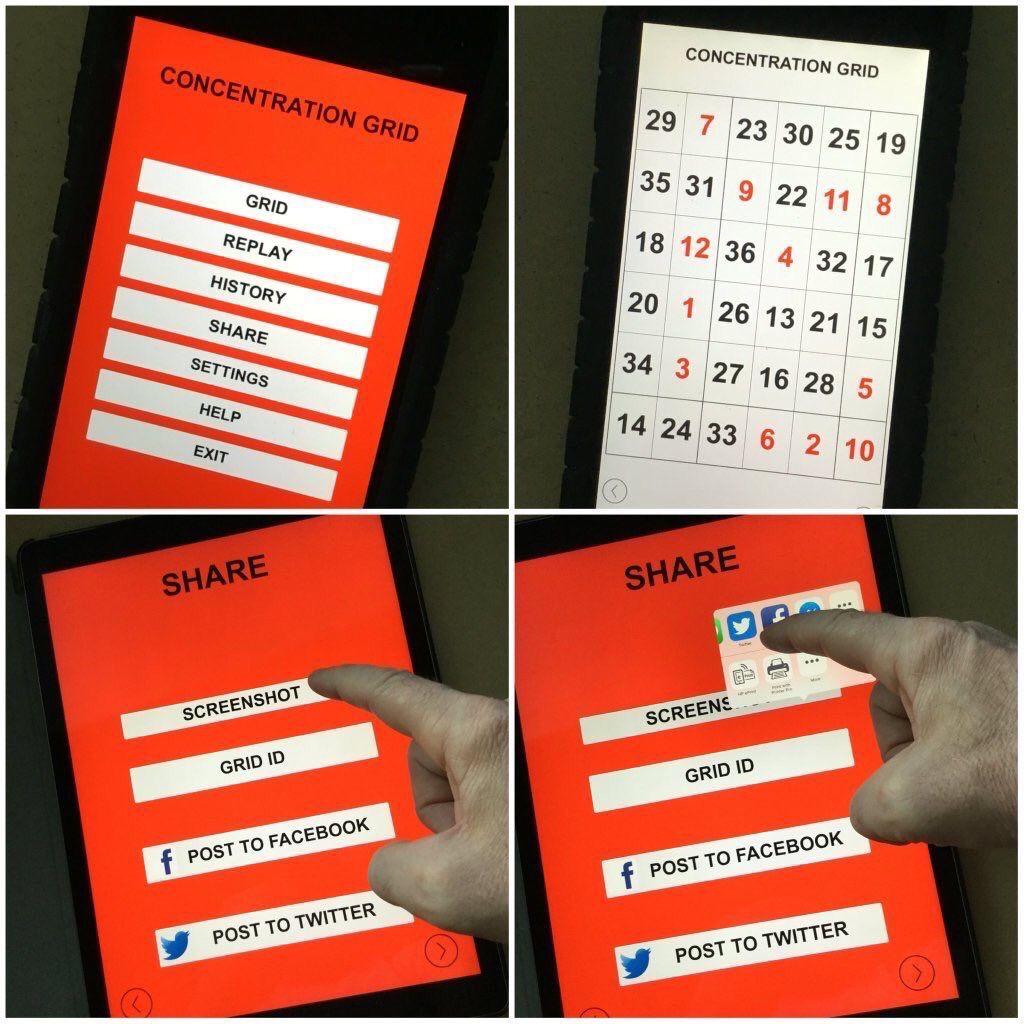Concentration grid webmobile device app implementation