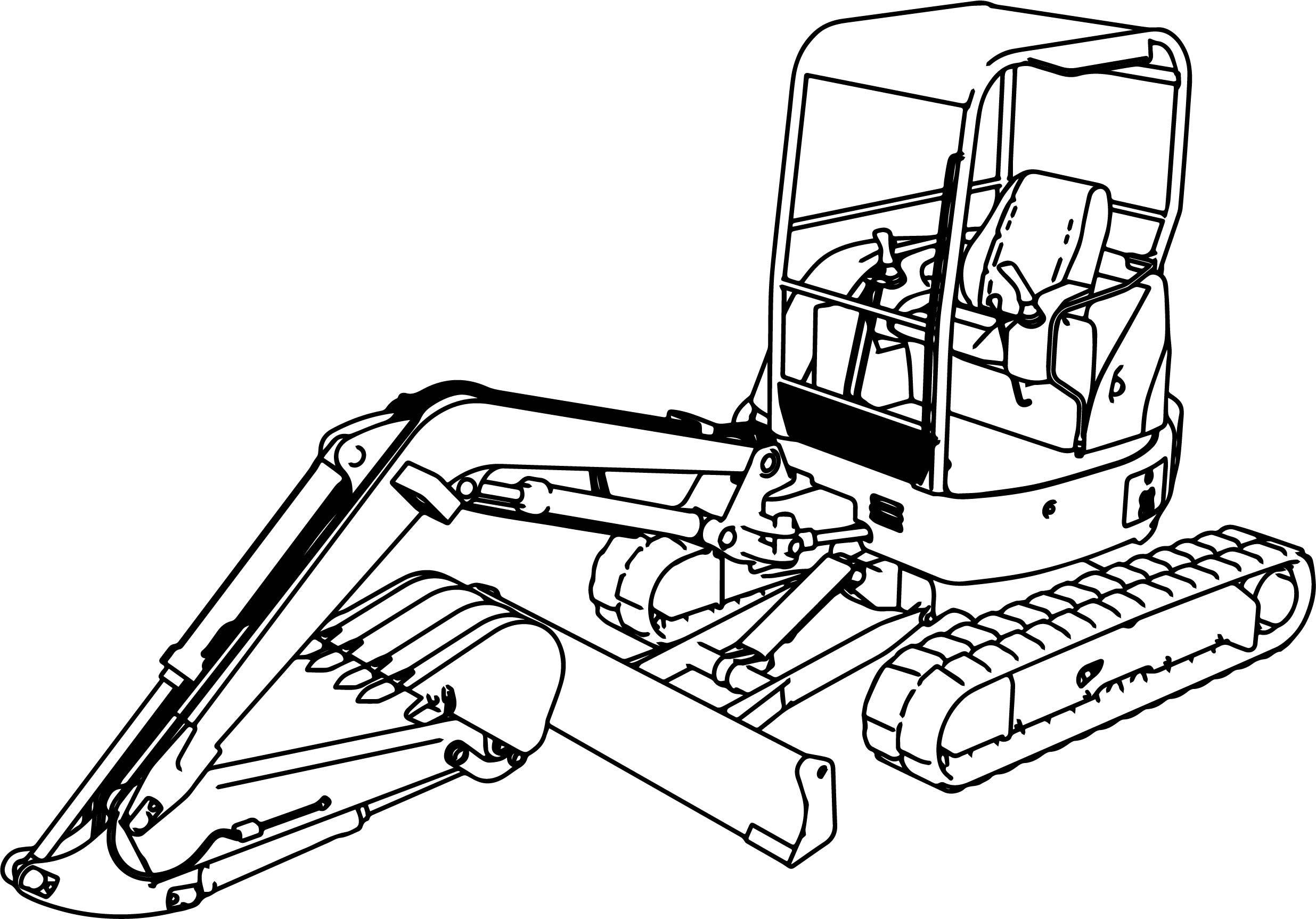 nice Excavator Mini Excavator Hitachi Ex50u Coloring Page
