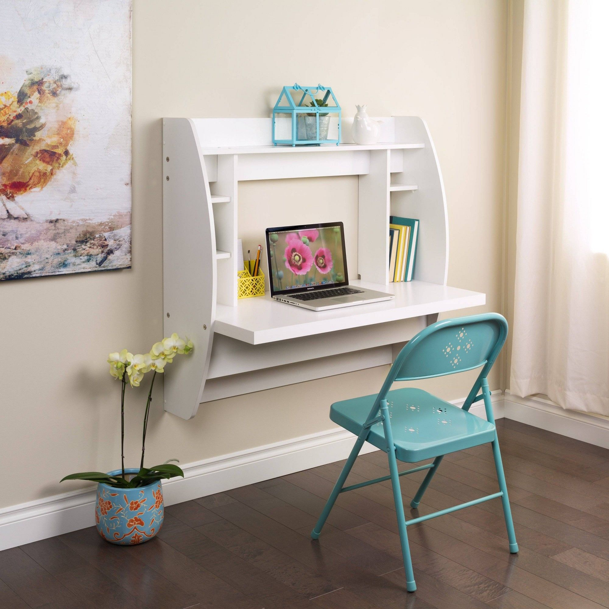 Floating Desk With Storage White Prepac In 2020 Desk Storage