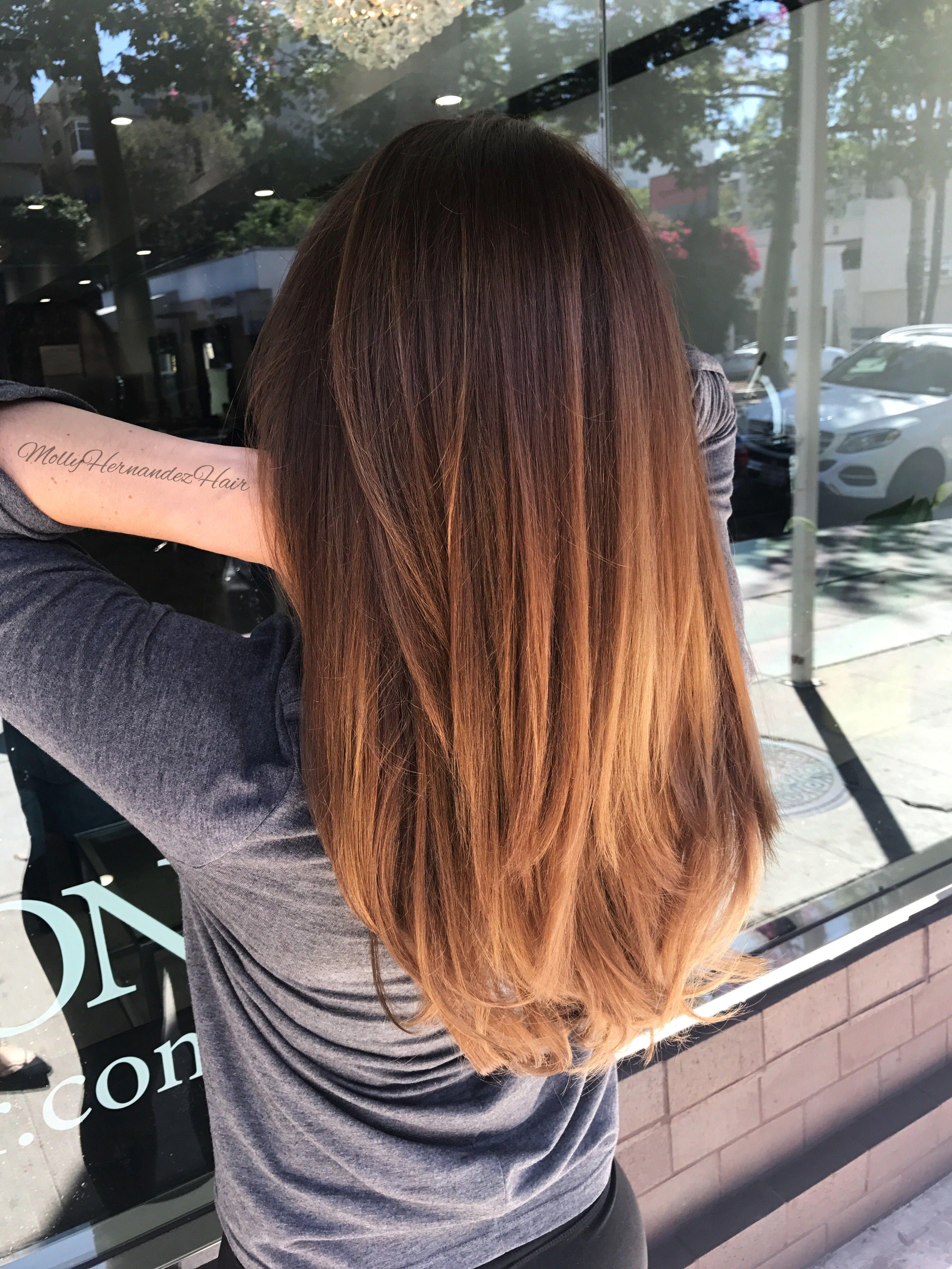 Warm Brown Balayage With Copper Tones Brown Hair Balayage Thick Hair Styles Auburn Balayage