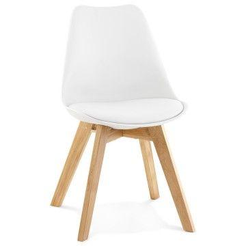 Chaise similicuir avec pied en chêne tylik blanc