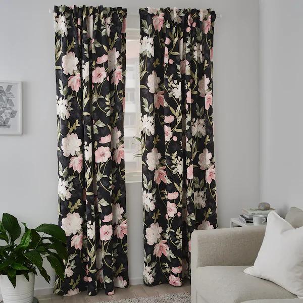 Rosenmott Blackout Curtains 1 Pair Black Floral Patterned