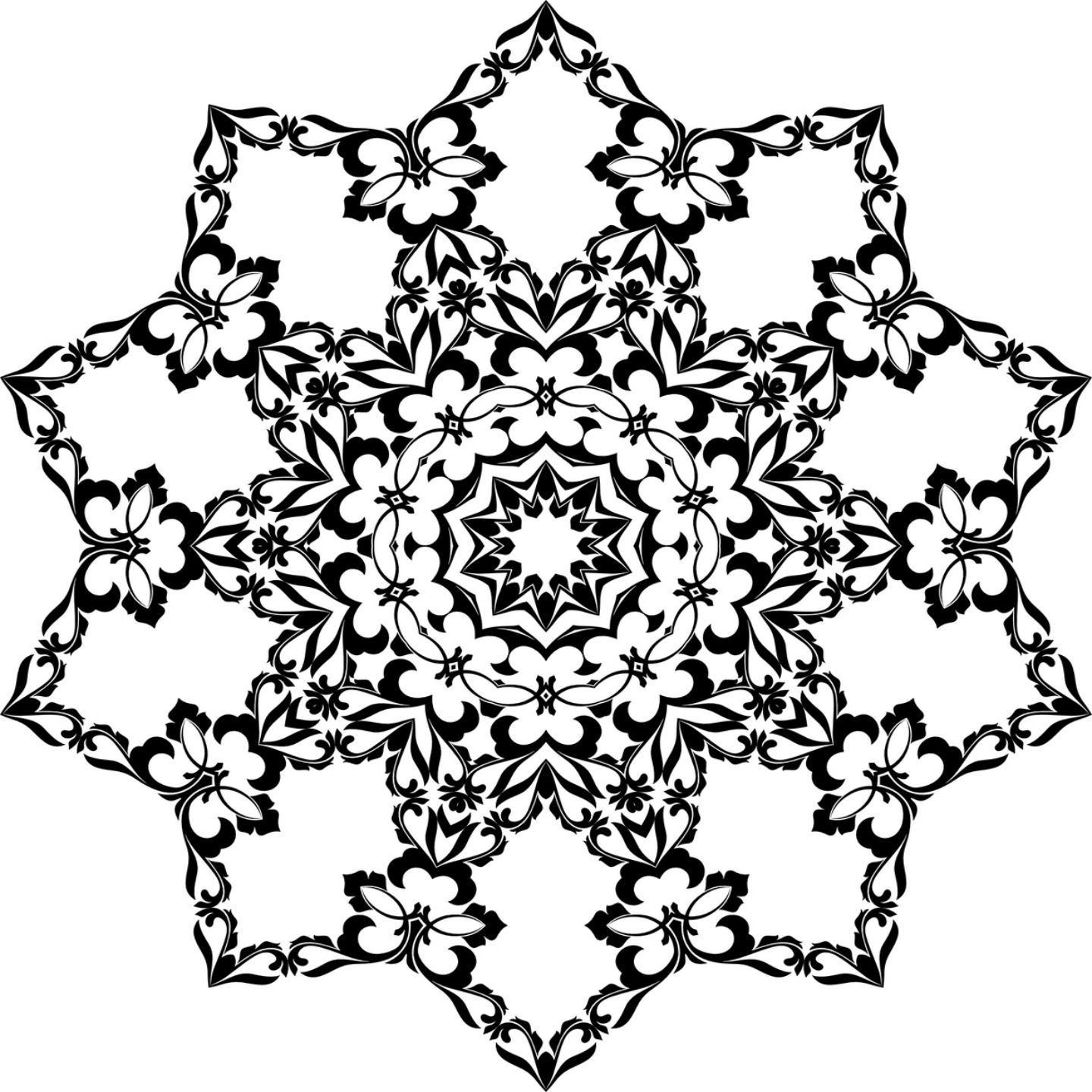 Floral Snowflake Coloring Page for Adults and Kids | Mandala ...