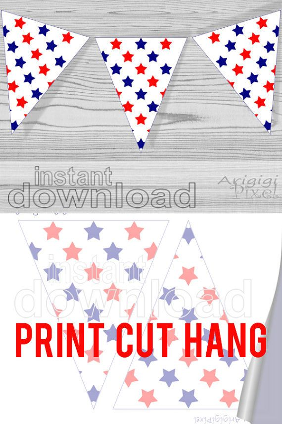 Printable #Pennant #Banner with #red, #blue, white #stars #pattern