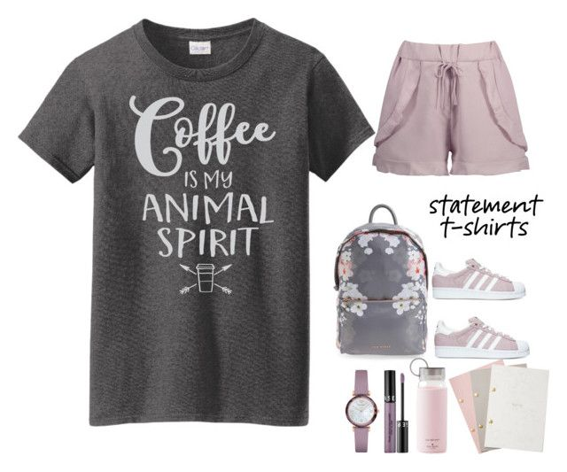 """statement t-shirt."" by emi-the-queen ❤ liked on Polyvore featuring adidas, Emporio Armani, Sephora Collection, Ted Baker, Kate Spade, StudioSarah, Tshirt, statement and coffeelover"