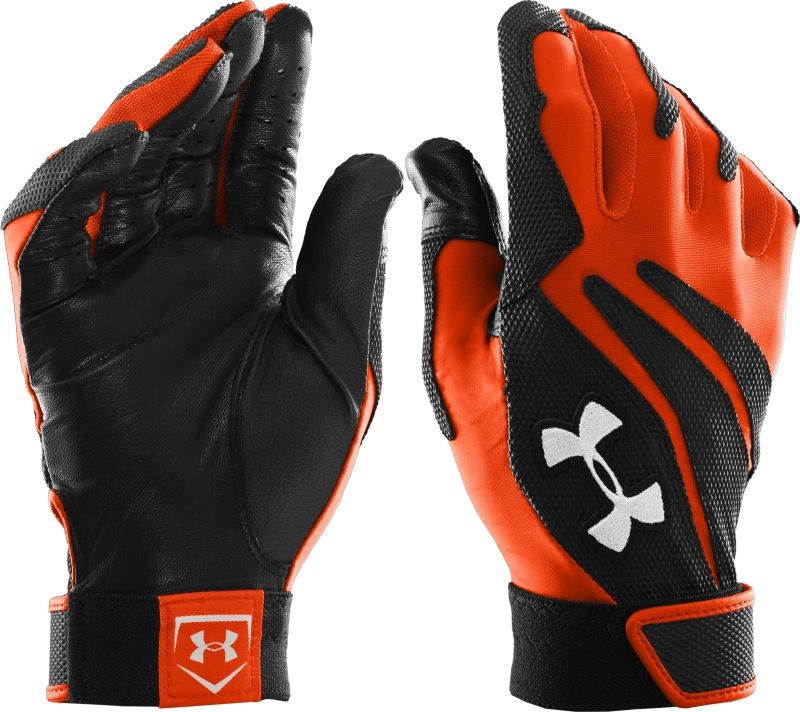 red and black under armour football gloves