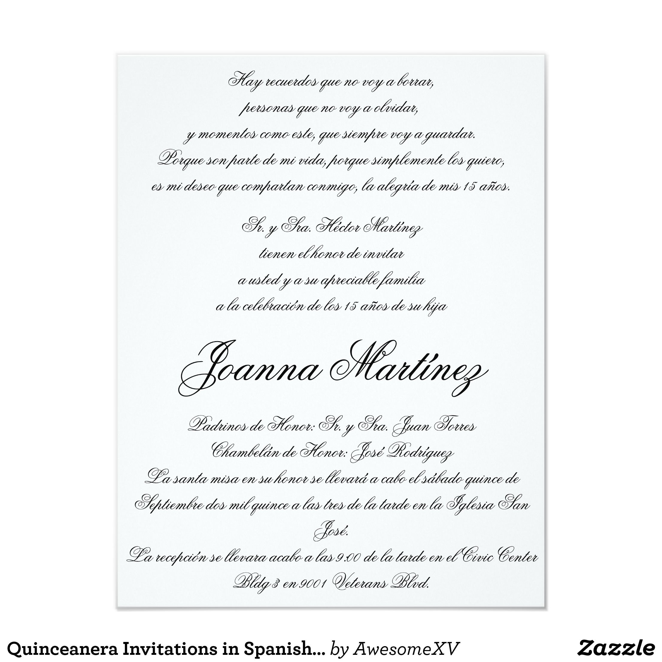 Quinceanera Invitations In Spanish 4 25 X 5 5