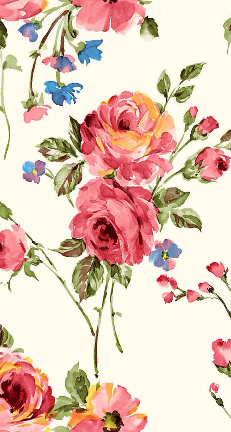 Vintage Flower Print Flower wallpaper, Vintage flower