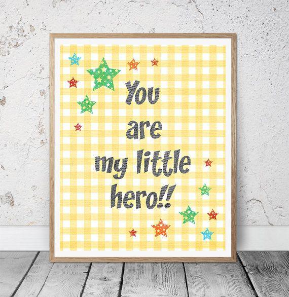 You Are My Hero Baby Boy Nursery Wall Art Yellow by MSdesignart