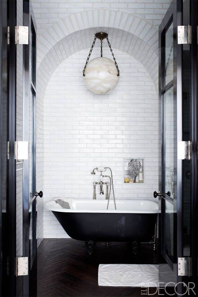 Black and #white #bathroom with #subway #tiles    #Schwarz-#weißes - schwarz wei fliesen bad