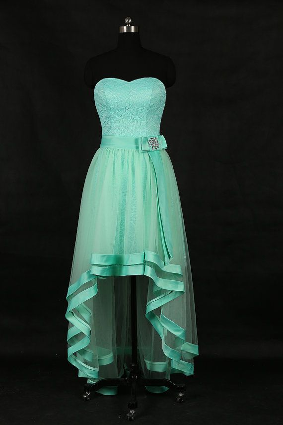 Menta asimétricos vestidos o Simple encaje Prom por weddingdec