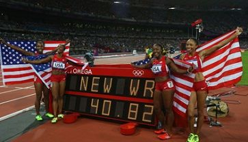 USA Women set new world record for 4x100 relay.
