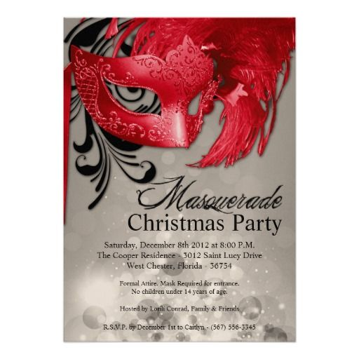 5x7 Silver Red Masquerade Christmas Invitation