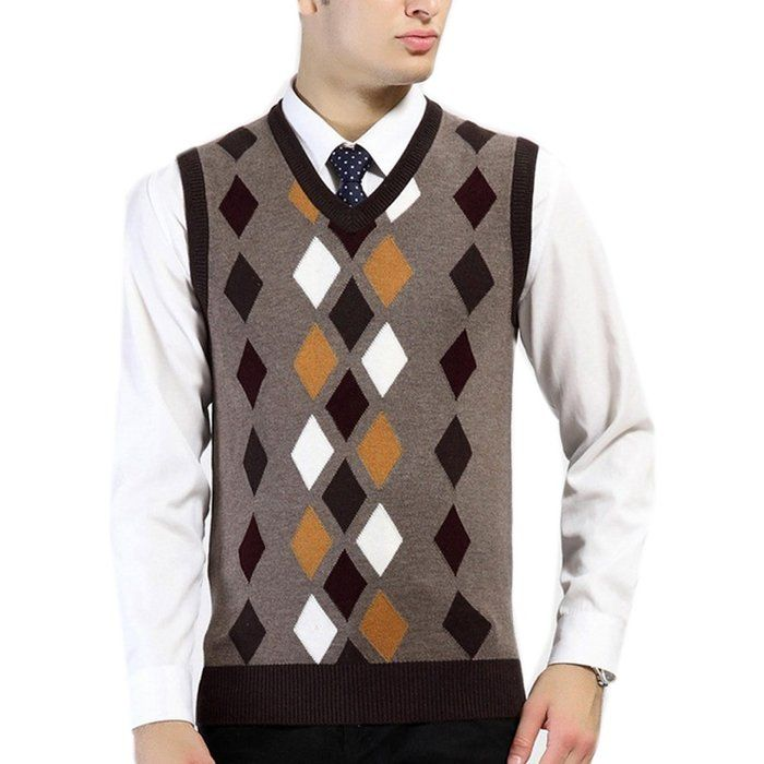 G-LIFE Men's Color Argyle Plaid Pattern Pullover Waistcoat Casual ...