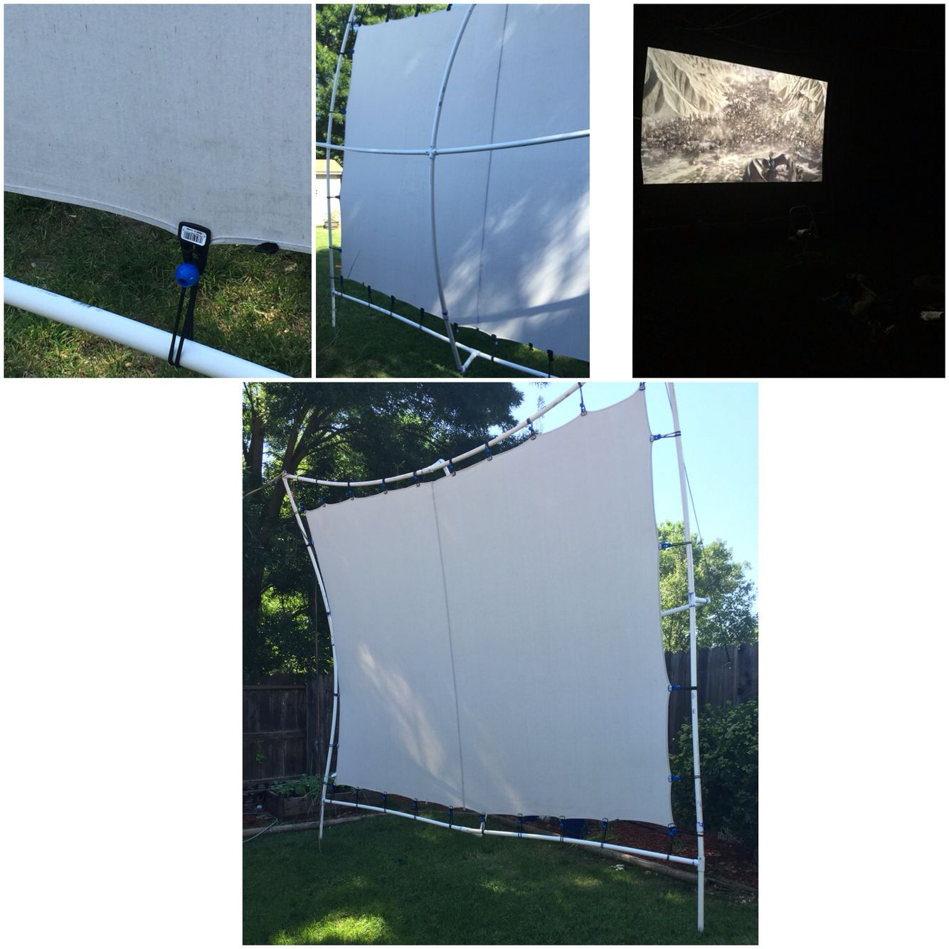 Our DYI backyard projector screen . Frame made with Pvc pipe that\'s ...