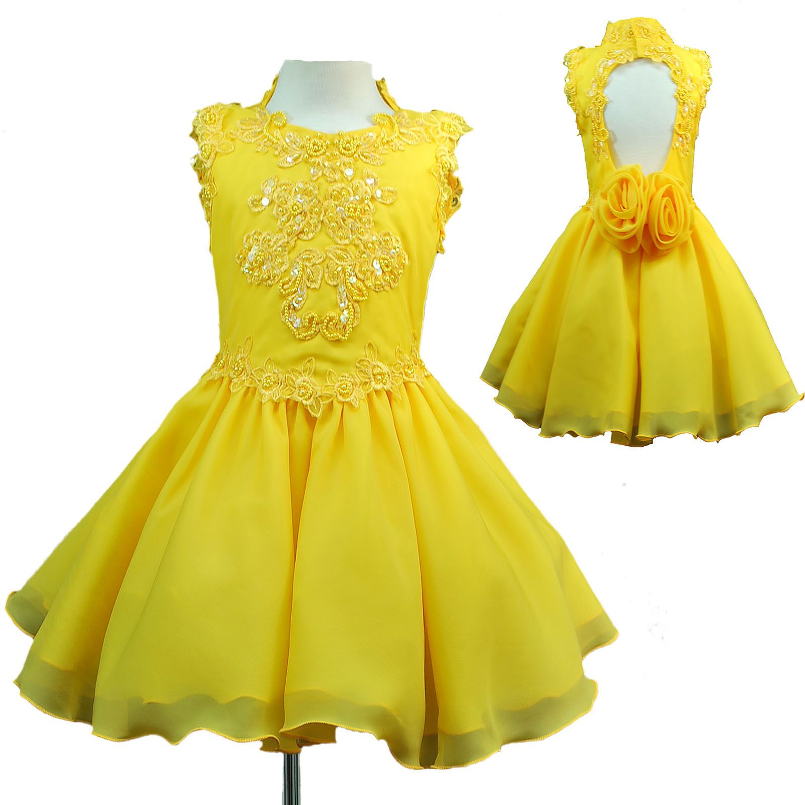 Infant u girl national pageant formal party short dress yellow