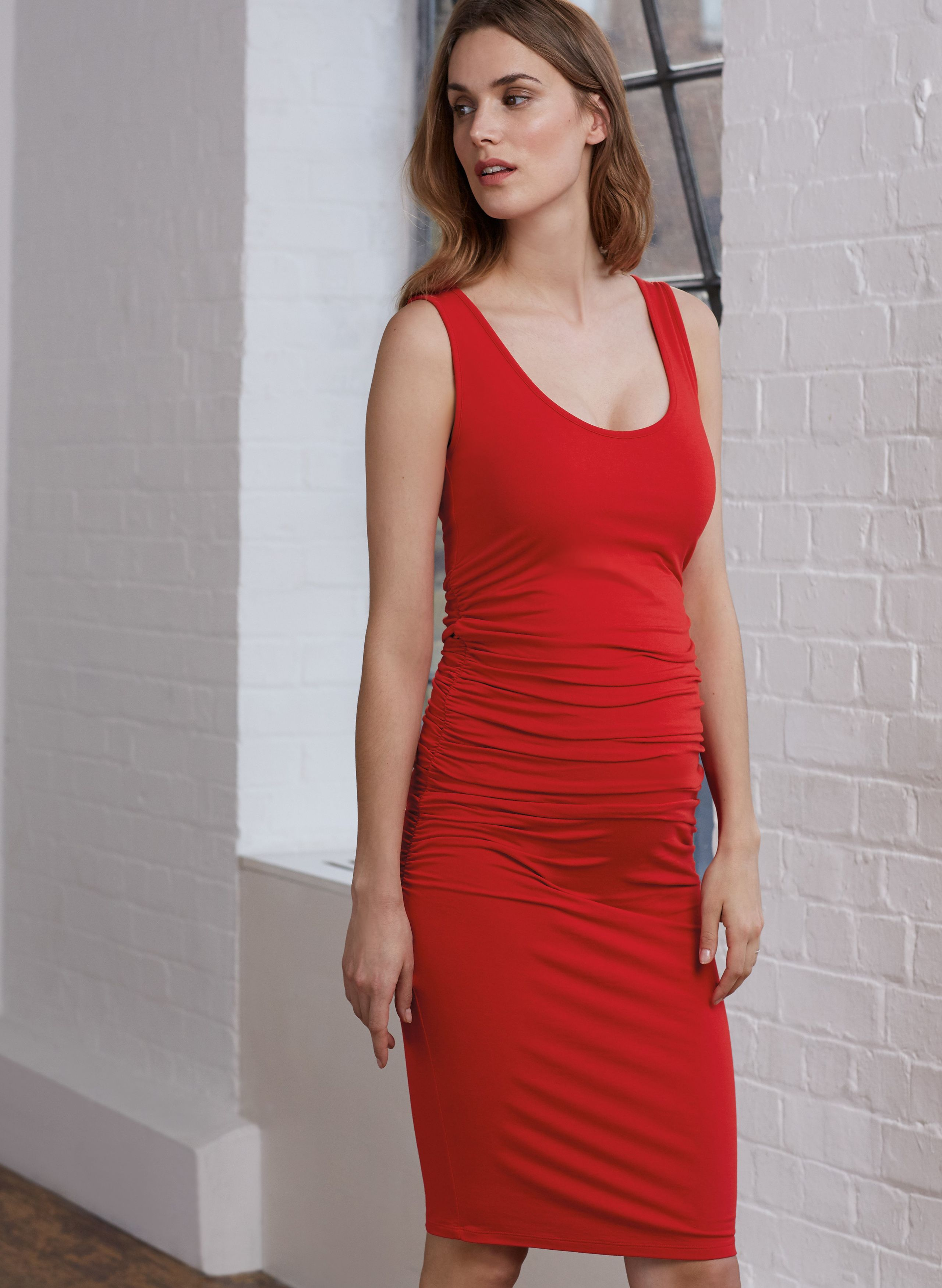 28fceb8d473bbe Ellis Maternity Tank Dress in Red at Isabella Oliver. Discover the leading  British maternity fashion brand for chic, premium quality maternity clothes.