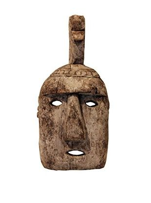 Asian Loft Antique Primitive Tribal Mask, Neutral Tones