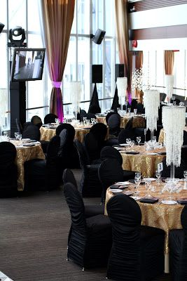 black chairs and gold table day time wedding deco pinterest