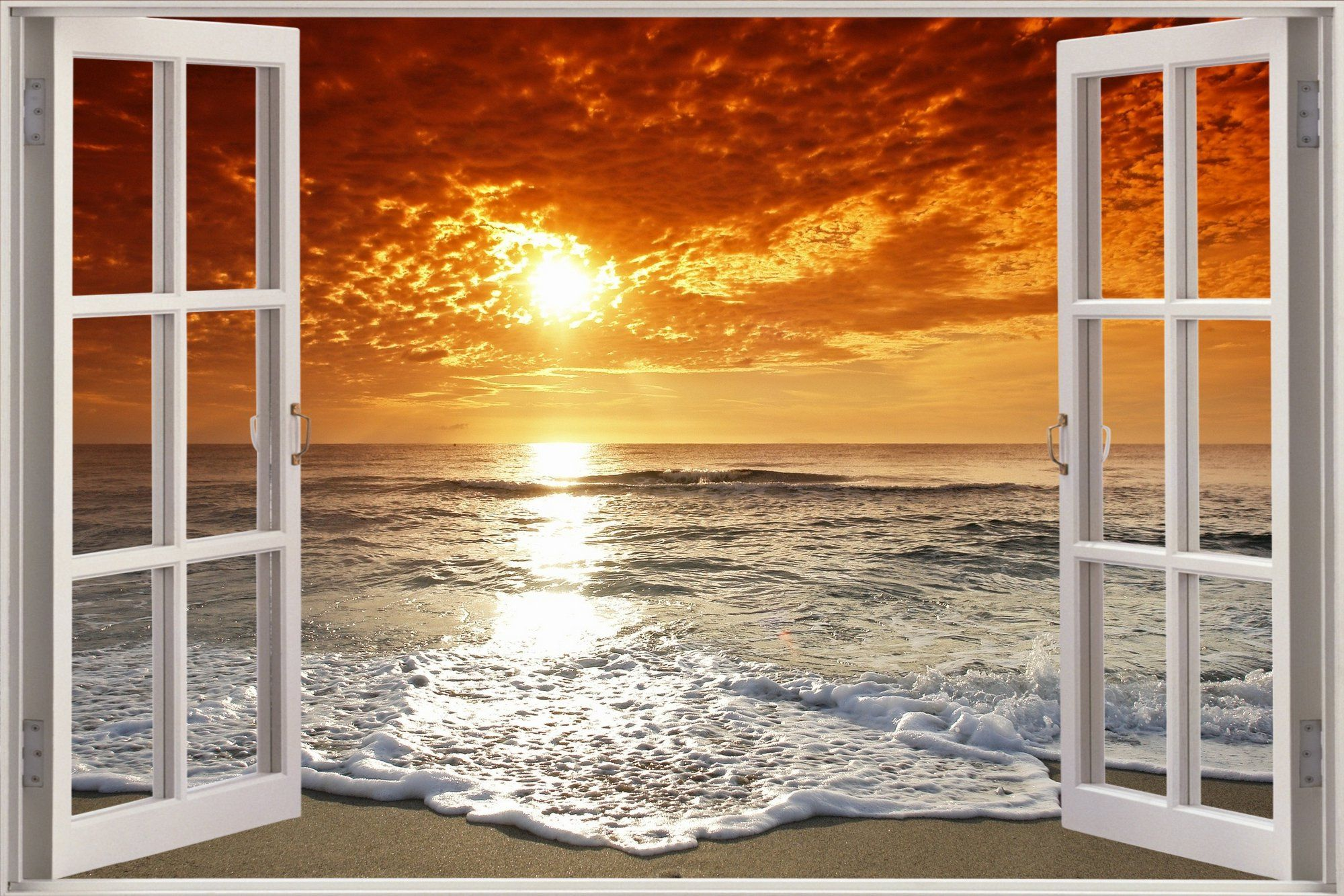 Huge 3d window exotic ocean beach view wall stickers film for Beach window mural