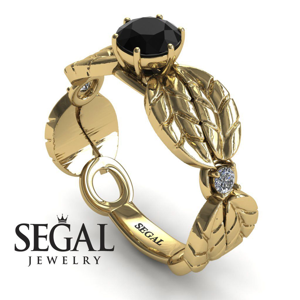 Unique Engagement Ring 14K Yellow Gold Leafs Vintage Black Diamond With White diamond - Scarlett