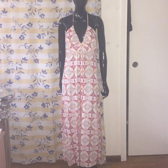 Halter Maxi Dress 70's style print halter maxi dress Dresses Maxi