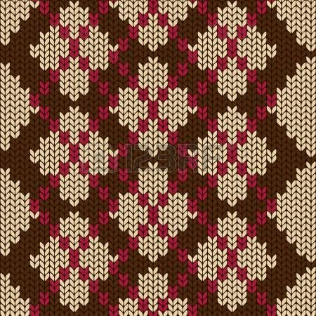Knitted seamless pattern with beige rhombus