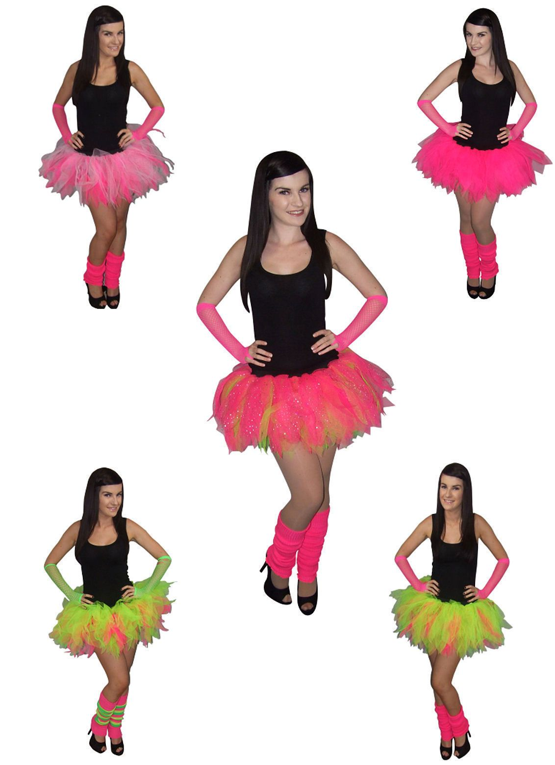 a9b046e0f1 Neon Pink Tutu Skirt I Love 80S Fancy Dress Hen Party Fun Run Plus Size 80's