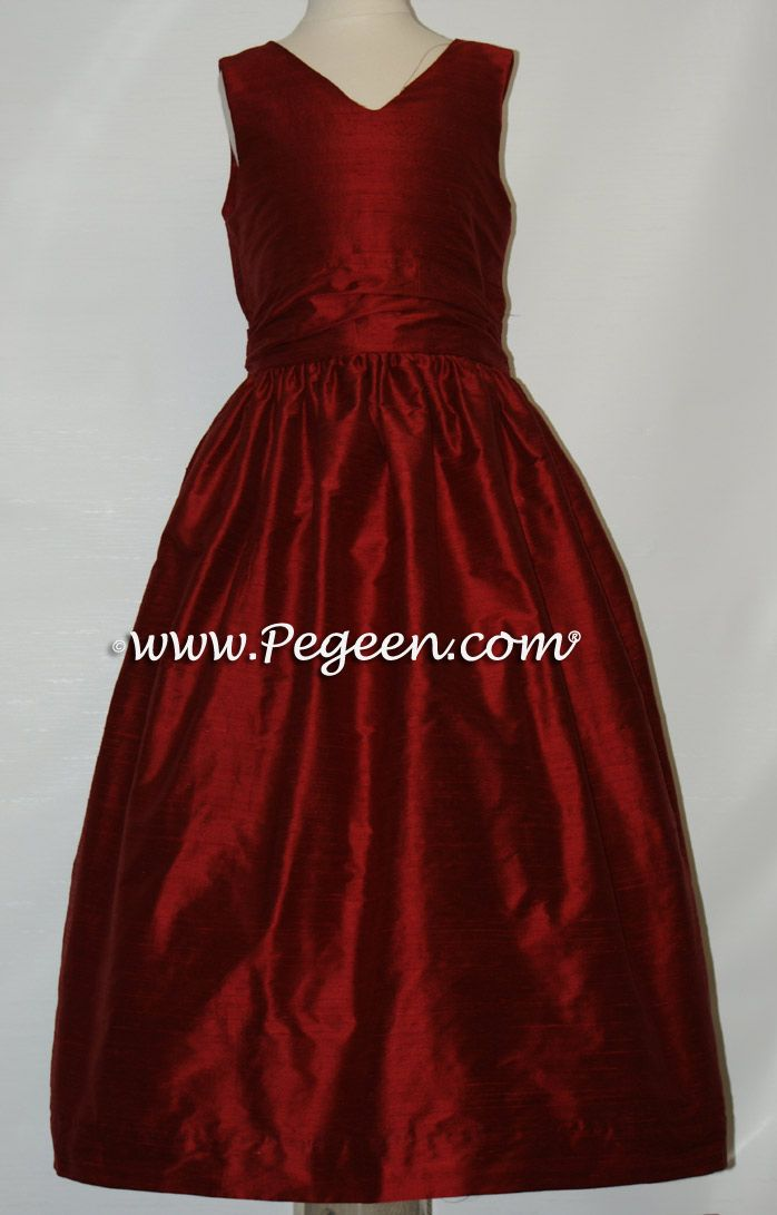 cranberry red #junior bridesmaids dresses | Red flower girl ...