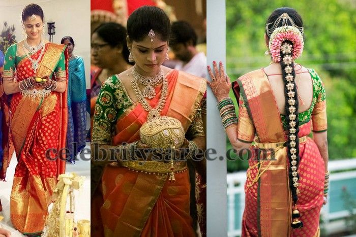 a2192591a8 Brides in Red Zari Work Sarees | Wedding Stuff | Saree wedding ...