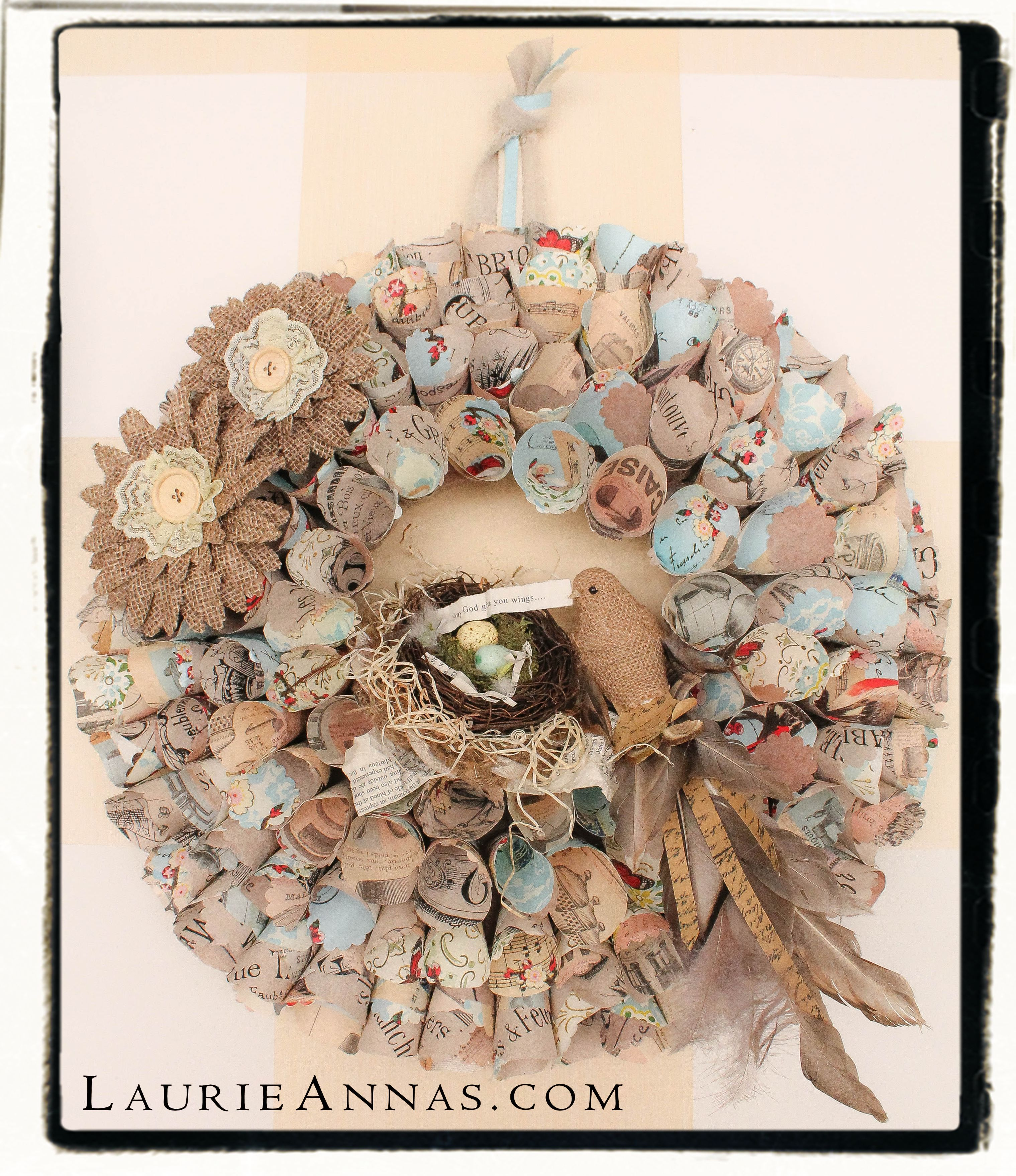 I love this paper wreath from LaurieAnna's Vintage Home !